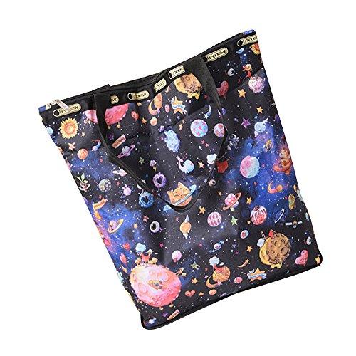 HCFKJ Tasche, Floral bedruckter Canvas Tote Einkaufstaschen Large Capacity Canvas Beach Bag (G) -