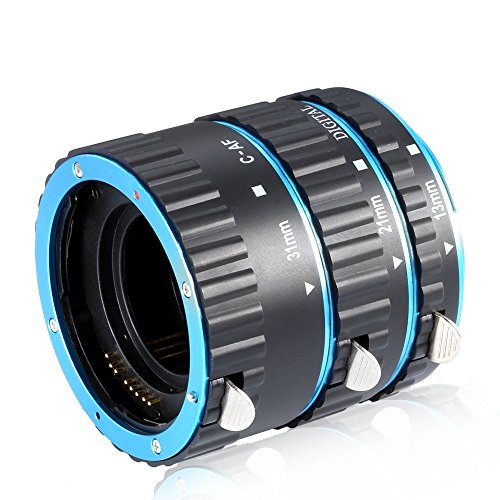 Galleria fotografica Neewer Set 3pz Tubo d'Estensione AutoFocus Macro 13mm 21mm 31mm per Obiettivi Canon EOS EF EF-S, come Canon 7D Mark II, 5D Mark II III IV, 1300D, 1200D, 750D, 700D, 600D, 80D, 70D, 60D (Blu)