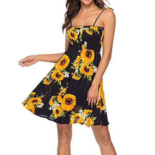AMUSTER Damen Kleid Sommer Chiffon Kleid Strandkleid Blumen Druckkleid Bandeaukleid Floral Sommerkleid Spaghettiträger Kleid