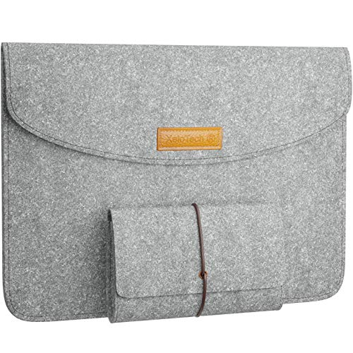 XeloTech Edle Filz-Tasche für iPad Pro 11 Zoll, iPad 9.7, iPad Pro 10.5 und iPad Air 3 (2019) 10.5 - Mit Zubehörtasche für Ladekabel - Hülle für Reise, Uni, Büro - Hellgrau