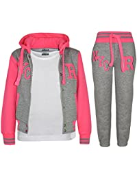 A2Z 4 Kids® Kinder Mädchen Jungen Baseball Trainingsanzug NYC FOX Jacke & Hose Sport Kapuzenpulli Hosen Jogginghose Alter 2-13 Jahre