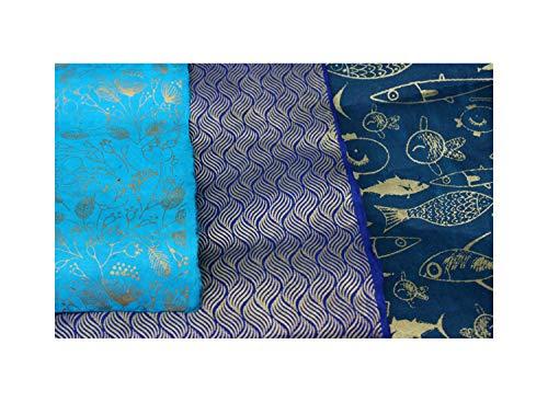 �pftes Papier Lokta Daphne Papier zum Verpacken, Basteln und mehr 3er Set türkis-blau-petrol-gold ()