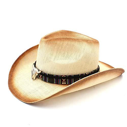 Stier Wolle E Kostüm - Jxth Westlicher Hut mit breiter Krempe Frauen Männer Mode Stroh Cowboyhut Mit Böhmischen Stier Stirnband Für Lady Dad Western Sombrero Hombre Kostüm-Zusatz-Cowgirl-Hüte