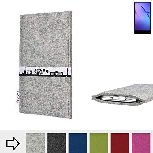 flat.design für Leagoo KIICA Mix Schutz Tasche Handyhülle Skyline mit Webband Wien - Maßanfertigung der Schutz Hülle Handytasche aus 100% Wollfilz (hellgrau) für Leagoo KIICA Mix