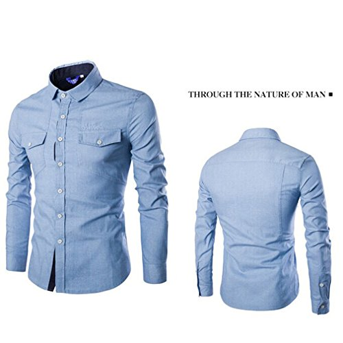 Honghu Homme Casual Slim Fit Manches Longues Commerce Chemise Bleu clair