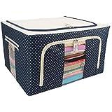 FASTUNBOX (LABEL) Steel frame Double Opening Zipped Storage Organiser bag with Window Folding Bag -Under Bed Closet Wardrobe