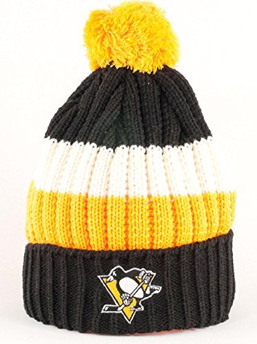 Pittsburgh Penguins NHL American Nadel Slope Knit Gestreift Cuffed Pom Hat