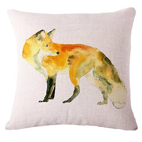 ruideng Animal Print Muster Baumwolle Leinen Kissenbezug Kissen Fall für Sofa, Bett, Stuhl, Betten 45,7x 45,7cm, Flax, fuchs, 45*45 (Print Boppy-kissen Animal)