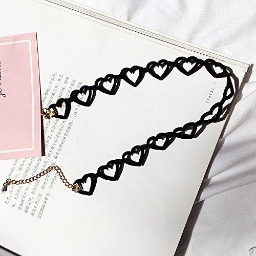 Faux Leder Herz (BAOZIV587 Einfaches Mädchen Herz Leder Faux Wildleder Samt Liebe Herz Herz Halskette Schlüsselbein Kette Halskette weiblich, kleine Pfirsich Herz)