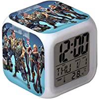 St@llion 7 Colors LED Alarm Clock, Digital Alarm Clock with Snooze Function, LCD Screen Displays Time, Date, Temperature, Best Gift for Children Birthday, Christmas or Game Lovers (Random Pattern)