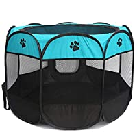 ACAMPTAR Portable Collapsible Octagonal Pet Fence 600D Oxford Cloth Waterproof Scratch-Resistant Dog Tent Pet Outdoor Detachable Mesh Sunshade-Blue