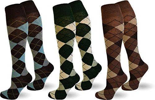 normani 3 Paar Karo Kniestrümpfe aus Baumwolle für Teenager und Damen im Karo Design Farbe Farbset 3 Größe 39/42