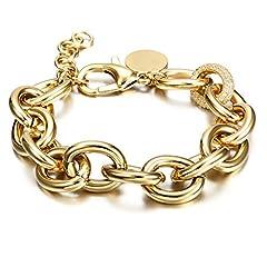 Idea Regalo - Bracciale da donna, oro rosé, con glitter, zirconi, regolabile, regalo per San Valentino e acciaio inossidabile, colore: gold, cod. NSB1226