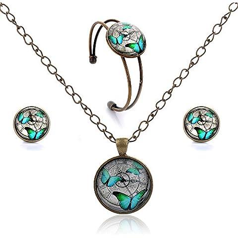 Lureme® Orecchini pendenti a disco serie gioiello prigioniera tempo aperto bracciale Braccialetto e collana pendente set di gioielli per le donne e le ragazze (09000427) (cuore umano)