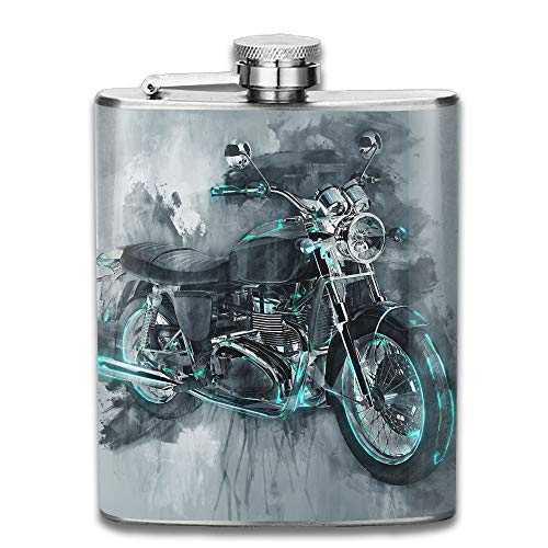 Gxdchfj Single Classic Motorcycle Bike In Gray Paint Strokes and Flat Dark Background with Rough Dripping 304 Stainless Steel Flask 7oz -