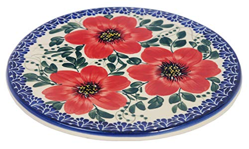 Tradizionale tagliere in ceramica polacca, realizzato a mano (Ø 20 cm), K.101 Mallow Collection