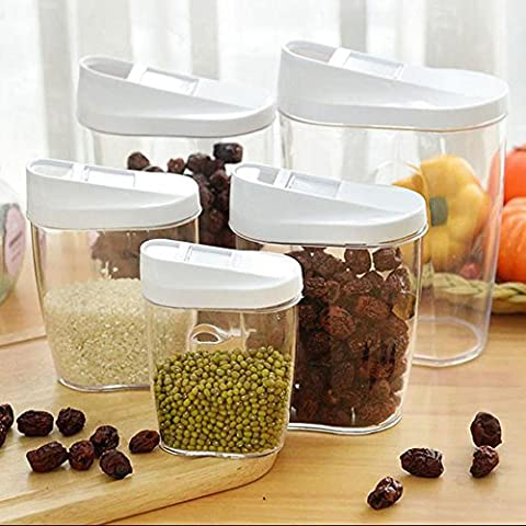 Dealglad® 5 Piece kitchen sealed Food fruit dry Cereal Snack Container Storage tanks cans Set