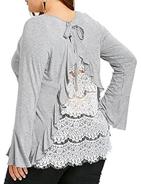 FAMILIZO Camisetas Encaje Mujer Manga Larga Camisetas Mujer Tallas Grandes Camisetas Mujer Verano Blusa Mujer...