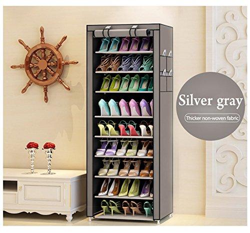 Nancy Star 10 Tiers Portable Shoes Rack mit Staubdicht Abdeckung Regal Schrank Veranstalter Schrank Schuhschränke Silver Gray