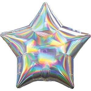 Amscan International Anagram 3927001 - Globo de papel de aluminio con forma de estrella de plata iridiscente, 1 unidad