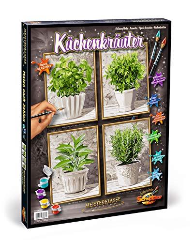Schipper 609340687 609340687-Malen nach Zahlen-Küchenkräuter, Quattro je 18 x 24 cm Küchenkräuter