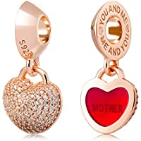 ATHENAIE 925 Argento placcato in oro rosa con Pave CZ Blocco Cuore Amore ciondolo madre misura tutti i braccialetti europei