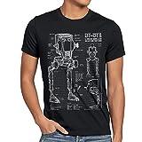style3 AT-ST Cianotipo Camiseta para hombre T-Shirt fotocalco azul andador, Talla:2XL;Color:Nero