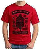 OM3 - DARKSIDE-BIKER - T-Shirt FORCE OF SPEED STORMTROOPER STAR BIKER GEEK FUN SciFi EMO, XL, rot