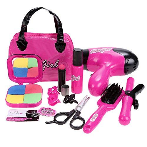Arshiner Frisierkoffer Set mit Haartrockner, Bürste, Haarglätter, Handspiegel, Kamm, 4 Haarklammern, Kosmetiktasche Spielzeug