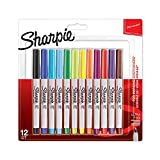 Sharpie S0941891 Lot de 12 Marqueurs Permanents à Pointe Ultrafine Coloris Assortis