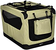 AmazonBasics Premium Folding Portable Soft Pet Dog Crate Carrier Kennel - 30 x 21 x 21 Inches, Khaki
