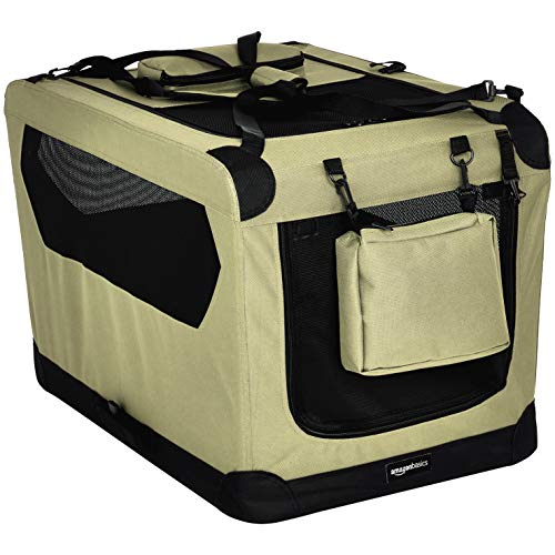 AmazonBasics - Trasportino morbido pieghevole per animali domestici, alta qualità, 76 cm, Cachi