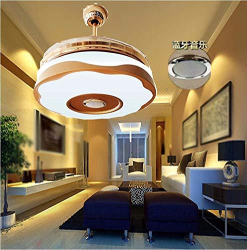 Modernes Design-Ventilator-Leuchter, unsichtbarer Deckenventilator mit Lampe Wohnzimmer-Schlafzimmer-Ventilator-Licht-Hauptdekoration 42 Zoll-Fernsteuerungs-Bluetooth-Durchmesser 107cm für Schlafzimme (Licht, Badezimmer-ventilator Mit Bluetooth)