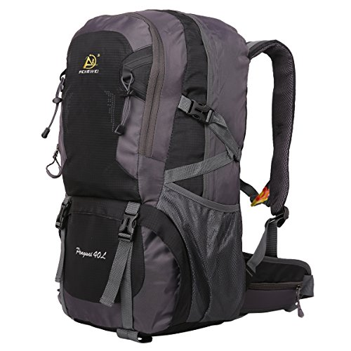 HWJIANFENG Zaini 40L Sportivi Unisex in Nylon Poliestere da Trekking Borse per Outdoor Campeggio Escursionismo Viaggi Nero