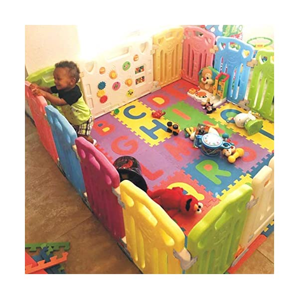 Baby Playpen Kids Activity Centre Safety Play Yard Home Indoor Outdoor New Pen (Multicolour, Classic Set 14 Panel) (Multicolour 14 Panel) Gupamiga MOM'S LIFESAVER: Keep baby safe in there play centre when mom/dad needs to cook, clean up, go to the bathroom, etc. STURDY HOLDING: Specially designed rubber feet underneath of the yard so the parts don't go sliding around. COVERS A LARGE AREA: It is a great amount of space for baby to learn walk and even laying with baby in it for play time. 3