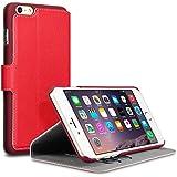 Qubits Premium Wallet Schutzhülle mit Standfunktion für Apple iPhone 6Plus/6S Plus–Rot