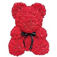 Guajave 25cm Foam Rose Bear Romantic Flower Bear for Valentine Birthday Wedding Anniversaries