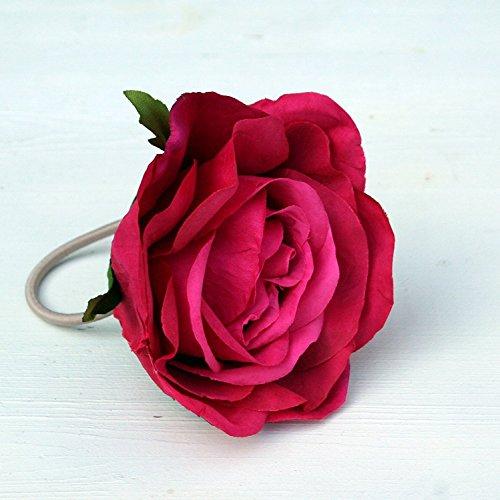 Seide Haargummi (Haarblume Haarschmuck Rose rosa mit Haargummi #40253)
