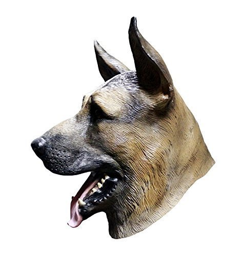 The Rubber Plantation TM 619219292283 Deutscher Schäferhund Latex Maske Hund Hunde Halloween Tier Kostüm Zubehör, Unisex, ONE SIZE