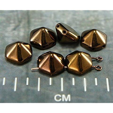Jet Nero Bronzo Piramide Esagonale Due Fori, ceca, Perle di Vetro 12mm x 12mm 6pcs