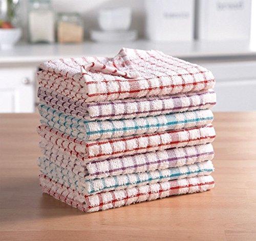ARITRADERSLTD Neuf 100% Coton éponge torchons-torchons de Cuisine Couleurs Assorties Super Absorbant en Lot de 3691215