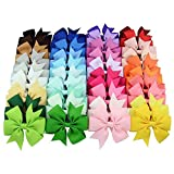 Rzctukltd 40PCS Colors Handmade Bow Hair Clip Alligator Clips Girls Ribbon Kids Sides Accessories
