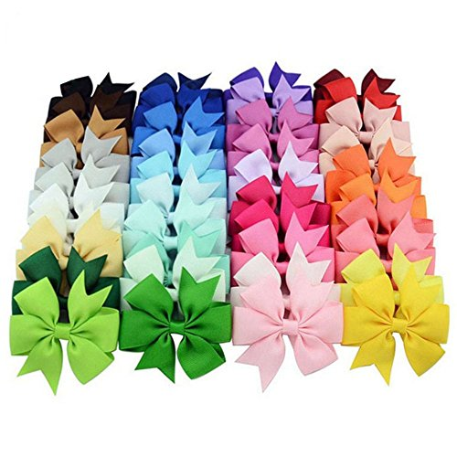 Rzctukltd 40PCS Colors Handmade Bow Hair Clip Alligator Clips Girls Ribbon Kids Sides Accessories