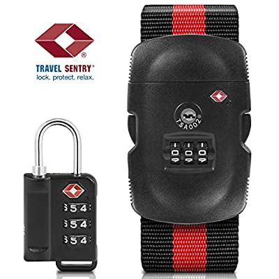 Luggage Locks - TSA Lock and Luggage Straps [TSA Approved], BEZTM TSA Lock [3 Digit Combination][ Zinc Alloy Material] with Adjustable Travel Luggage Strap