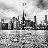 Artland Analoge Wand-Funk-oder Quarz-Uhr Digital-Druck Leinwand auf Holz-Rahmen gespannt mit Motiv jovannig Lower Manhattan Skyline vom Brooklyn Bridge Park gesehen Amerika NewYork Fotografie C3MR