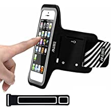 EOTW iPhone 5/SE/5S/5C/4/4S Fascia da Braccio Sportiva Armband Portacellulare per Corsa Maratona Palestra Running Jogging (4 inch Nero)