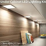 6-Watt-LED-Unterschrank-Leuchte & Driver-Kit–gebürstetes Nickel–warme, weiße Beleuchtung–Einbauleuchte/versenkt.