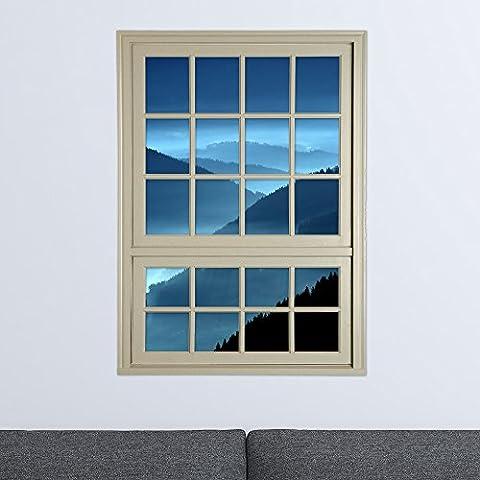 XXTT-Habitación 3D pegatinas de pared tridimensional ventana de etiquetas en las ventanas ventana de rejas de emulación ( colina grande ) salón den definición en tres dimensiones pegatinas de pared pintura decorativa autoadhesivas