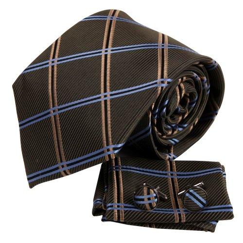 H6123 Gr¨¹n Plaids Quilt Geschenk Idea Seide Krawattes Manschettenkn?pfe Taschentuch Birthday Geschenks Set 3PT Von Y&G