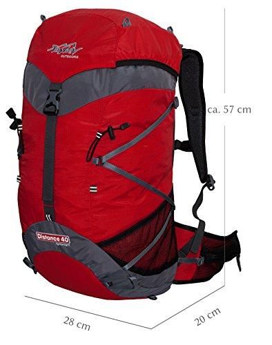 Ultraleichter 920g. schwerer Wanderrucksack 40 Liter Tashev Distance 40 Trekkingrucksack mit Trinksystem (Hergestellt in Europa) Rot Anthrazit